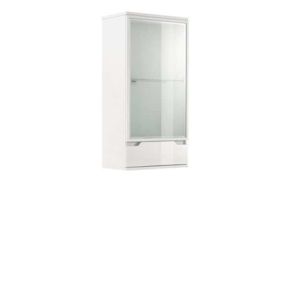 Fali vitrines szekrény, fehér/fehér extra magasfényű, ADONIS AS 08