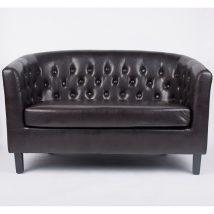 Elegáns 2-ülés, sötétbarna textilbőr/fekete tömörfa lábak, MARON
