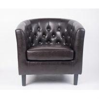 Fotel, sötétbarna textilbőr/fekete tömörfa lábak, MARON