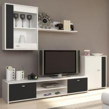 Nappali bútor, fehér/fekete, GENTA