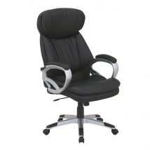 Irodai szék, fekete ekobőr + műanyag, ROTAR