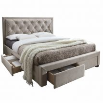 Ágy ágyráccsal, 160x200, szürkésbarna szövet, OREA CF8622