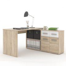 Számítógépasztal, sonoma tölgyfa/fehér, RAFAEL NEW