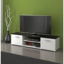 TV asztal, fehér/fekete, ZUNO NEW 01