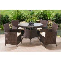 5 részes rattanszett + 4 párnázott fotel + étkezőasztal, sötétbarna+krém, RANDEL