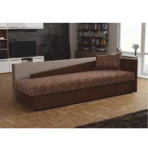 Kanapé ágyneműtartóval, jobbos, barna textilbőr/mintás szövet, Judit
