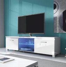 tv asztal,fehér/fehét extra magas fényű hg,lugo 2