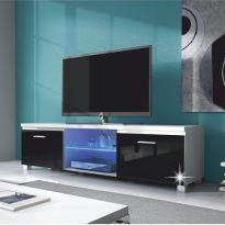 RTV asztal, fehér/fekete extra magasfényű HG, LUGO 2