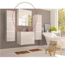 Szekrény tükörrel, fehér/fehér magas fényű HG, MASON