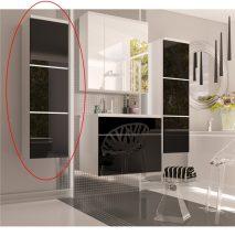 Magas szekrény, fehér/fekete fényű HG, MASON BL 11