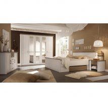 Hálószobakomplett, mandulafenyő fehér/sonoma tölgy trufla, LUMERA