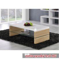 Dohányzóasztal, fehér extra magas fényű HG + sonoma tölgyfa, KONTEX
