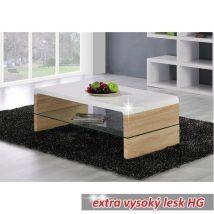 Dohányzóasztal, sonoma tölgyfa/fehér extra magasfényű HG, KONTEX 2 NEW