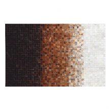 Luxus bőrszőnyeg, fehér/barna /fekete, patchwork, 70x140, bőr TIP 7