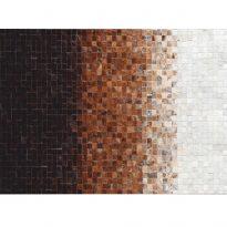 Luxus bőrszőnyeg, fehér/barna /fekete, patchwork, 140x200, bőr TIP 7