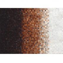 Luxus bőrszőnyeg,fehér/barna /fekete, patchwork, 140x200, bőr TIP 7