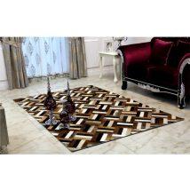 Luxus bőrszőnyeg, barna /fekete/bézs, patchwork, 70x140 , bőr TIP 2