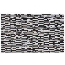 Luxus bőrszőnyeg,  barna /fekete/fehér, patchwork, 69x140, bőr TIP 6