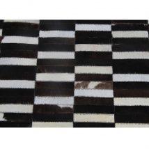 Luxus bőrszőnyeg, barna /fekete/fehér, patchwork, 141x200, bőr TIP 6