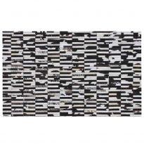 Luxus bőrszőnyeg, barna /fekete/fehér, patchwork, 201x300, bőr TIP 6