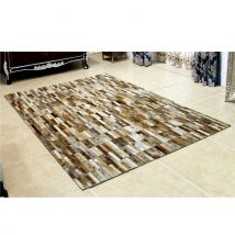 Luxus bőrszőnyeg, barna /fehér, patchwork, 120x180, bőr TIP 5