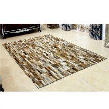 Luxus bőrszőnyeg, barna /fehér, patchwork, 69x140, bőr TIP 5