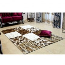 Luxus bőrszőnyeg, fekete/barna/fehér, patchwork, 201x300, bőr TIP 4