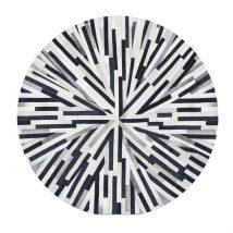 Luxus bőrszőnyeg, fekete/bézs/fehér, patchwork, 150x150, bőr TIP 8