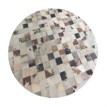Luxus bőrszőnyeg, fehér/szürke/barna , patchwork, 200x200, bőr TIP 10