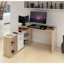 NOE NEW Számítógépasztal sonoma tölgyfa/fehér