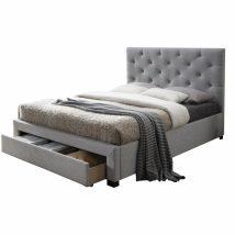 Modern ágy ágyneműtartóval, szürke szövet, 180X200, SANTOLA