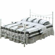 Fém ágy lécezett ráccsal, fém (fehér), 140x200, NIEVES NEW