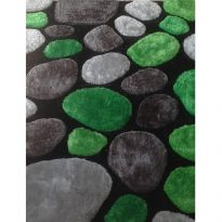 Szőnyeg,  zöld/szürke/fekete, 140x200, PEBBLE TYP 6