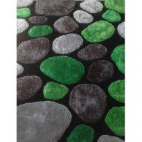 Szőnyeg, zöld/szürke/fekete, 120x180, PEBBLE TYP 1