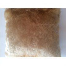 Párna birka bőr utánzat, bézs, 45x45, ROSALINE