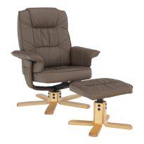 Pihenő fotel lábtámasszal, cappucino, LERATO