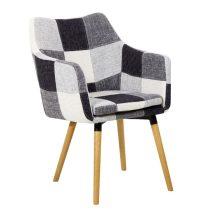 Fotel, fehér/fekete,minta patchwork/bükk, LANDOR