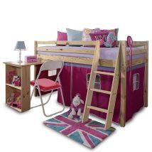Magasított ágy íroasztallal,boróka/rozsaszín.ALZENA