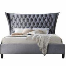 Dupla ágy, szürke/wenge, 180x200, ALESIA