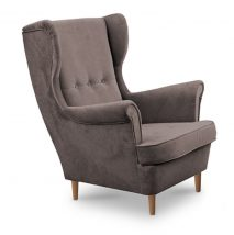 Modern fotel, 05 taupe bézses szürke szín+ bükkfa lábak, RUFINO