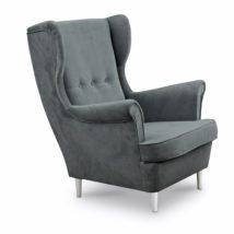 Modern fotel, 14 világosszürke szín + fehér lábak, RUFINO