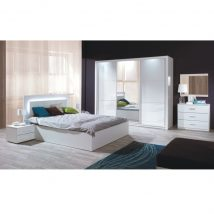 Hálószoba garnitúra (Szekrény+Ágy 160x200+2x éjjeliszekrény), fehér/magasfényű fehér HG, ASIENA
