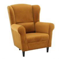 Füles fotel, szövet mustár, CHARLOT