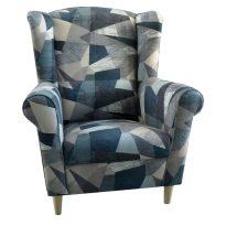 Füles fotel, szövet szürke-kék minta, CHARLOT