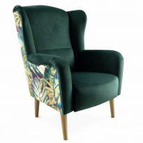 Dizájnos fotel, szövet smaragd/minta Jungle, BELEK
