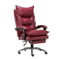 Irodai szék lábtartóval, textilbőr bordó, DRAKE