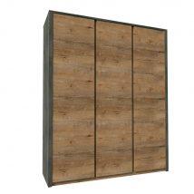 szekrény háromajtós, tölgy lefkas sötét/smooth szürke, MONTANA S3D
