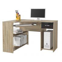 sarok PC asztal, tölgy sonoma/fekete fényes, UMAG
