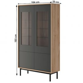 Vitrines szekrény, tölgy jaskson hickory/grafit, BERGEN BW104