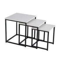 3 dohányzóasztal szett, matt fehér/fekete, KASTLER TYP 3